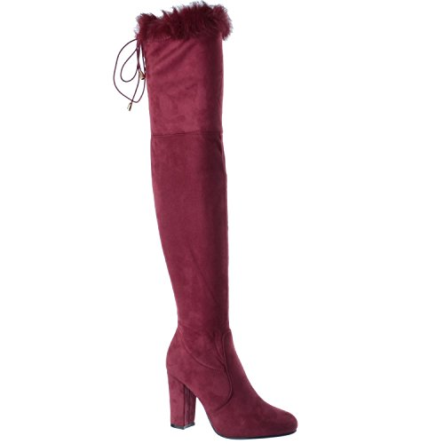 Miss Image UK Ladies Womens Block Heel Over The Knee Boot Fur Collar Zip up Thigh Boots Shoes Size Bordeaux Red Faux Suede InfaqHLvdh