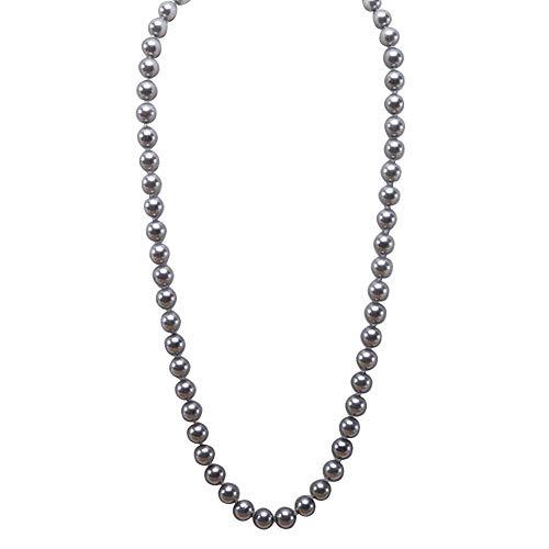 JYXJEWERLRY Fashion Women 12mm Grey Round Seashell Pearl Necklace for Girls