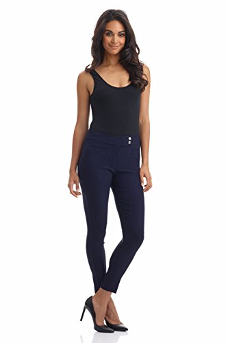 Rekucci Women's Ease in to Comfort Slim Ankle Pant with Snaps (14,Navy)