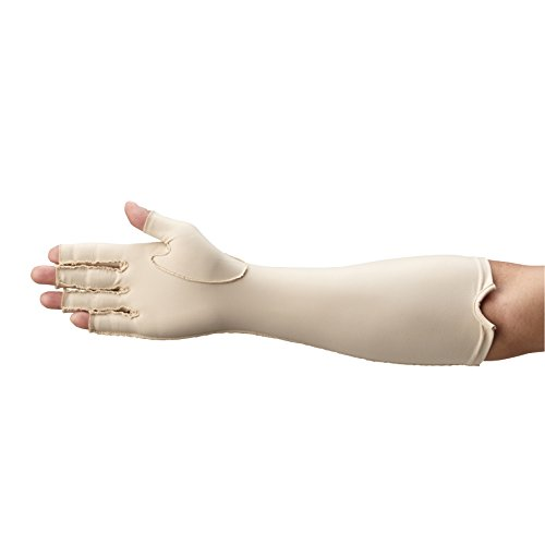 Rolyan Forearm Length Right Compression Glove, Open Finger Compression Sleeve to Control Edema and Swelling, Water Retention, and Vericose Veins, Covers Fingers to Forearm on Right Arm, Medium