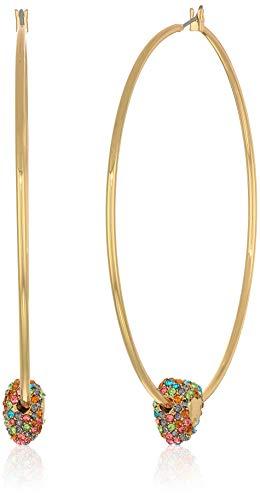 Betsey Johnson (GBG) Women's Multi-Colored Pave Heart Hoop Earrings, Multi, One Size, MULTI