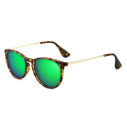 SUNGAIT Vintage Round Sunglasses for Women Classic Retro Designer Style (Amber Frame(Matte Finish)/Green Lens)