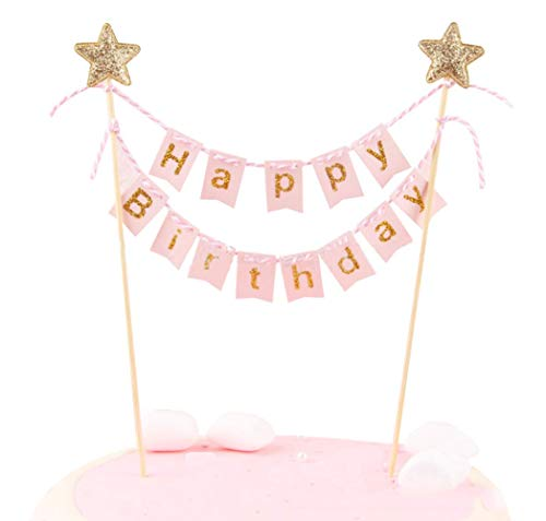 Happy Birthday Cake Topper Banner - Handmade Ivory Pennant Flag Banner Cake Topper with Wooden Polls - Perfect for cakes, donut cakes, cupcakes and more! (Pink) ()