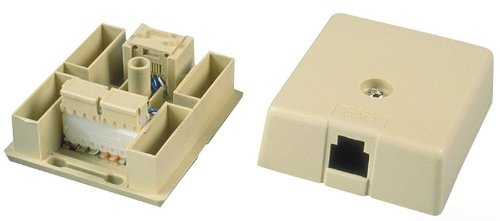 Allen Tel Products AT103-6-52 USOC Wiring Electric Ivory 6 Conductor 6 Position 1 Port Surface Mount IDC Outlet Jack