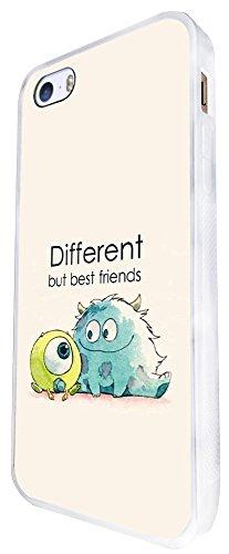 177 - Monsters Different But Best Friends Design iphone SE - 2016 Coque Fashion Trend Case Coque Protection Cover plastique et métal - Blanc