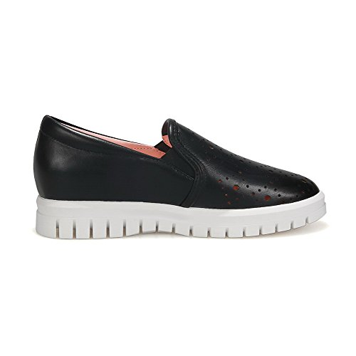 Amoonyfashion Womens Pull-on Lage Hakken Pu Stevige Ronde Gesloten Teen Pumps-schoenen Zwart