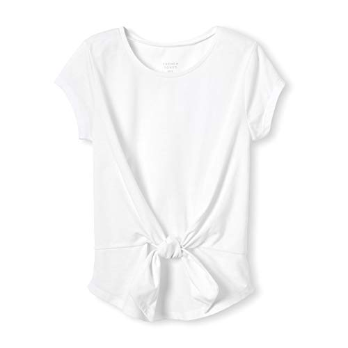 French Toast Girls' Big Short Sleeve Tie Front Top Shirt, White, L (10/12) ()