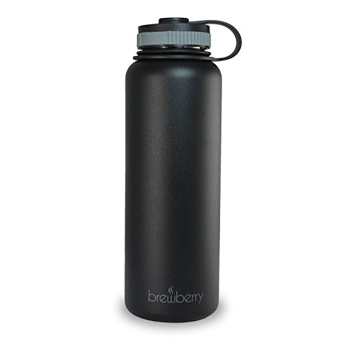 Brewberry Stainless Steel Sports Bottle and Travel Mug for Hot and Cold Beverages, Wide Mouth, Double Wall Insulated Hydration Sports Water Bottle for Hiking, Biking, and Activities, BPA Free, 40oz