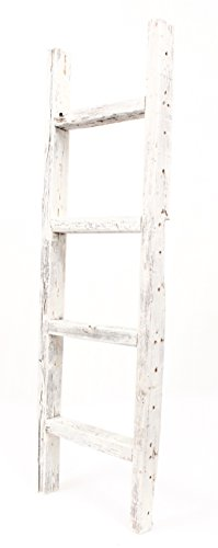 BarnwoodUSA Rustic 4 Foot Wooden Decorative Ladder – 100% Reclaimed Wood, White