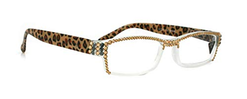 - The Rosette, Rectangular Full Top Light Colorado & Hematite SWAROVSKI Crystals Women Reading Glasses +3.50 +4.00 +4.50 +5.00 +6.00 Frosted Clear and LEOPARD