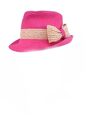 [One Size Fits Most Belted Rim Straw Bow Fedora Hat, Bright Fuchsia] (Belted Straw Belt)