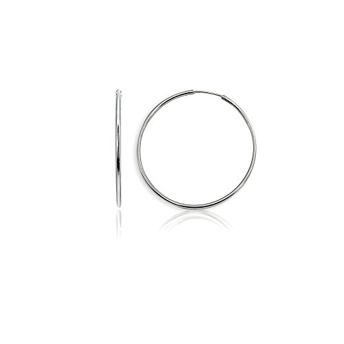 Sterling Silver Medium Endless 35mm Round Thin Lightweight Unisex Continuous Hoop Earrings