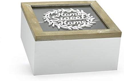 VIPOLIMEX Caja de Madera con Tapa de Vidrio y la inscripción Home ...