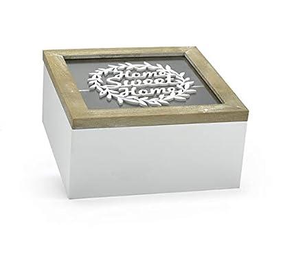 VIPOLIMEX Caja de Madera con Tapa de Vidrio y la inscripción Home Sweet Home, Caja