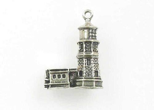 - Sterling Silver 3-D Split Rock Lighthouse Charm - Jewelry Accessories Key Chain Bracelet Necklace Pendants