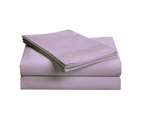 picture of Aegean 6-Pack Microfiber Greek Key Embroidery Bedding Sheet Set, Full, Lavender