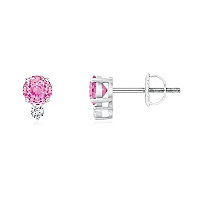 Angara Four-Prong Pink Sapphire and Diamond Basket Stud Earrings in Platinum oViSxjPjS5