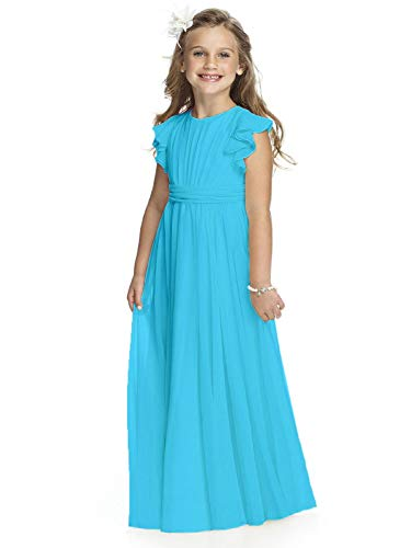 Abaowedding Fancy Chiffon Flower Girl Dresses Flutter Sleeves First Communion Dress(Size 10,Sky Blue)