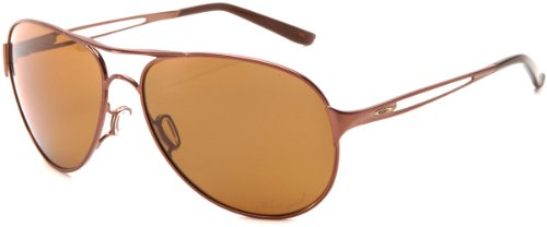Oakley Women's Caveat Polarized Aviator Sunglasses,Brunette Frame/Brown Lens,One Size