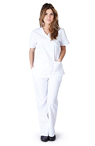 - Natural Uniforms Women's Mock Wrap Scrub Set (White) (XX-Large)