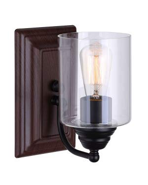Canarm Balsa 1 Light Vanity Light with Clear Glass and Matte Black /Faux Wood Finish