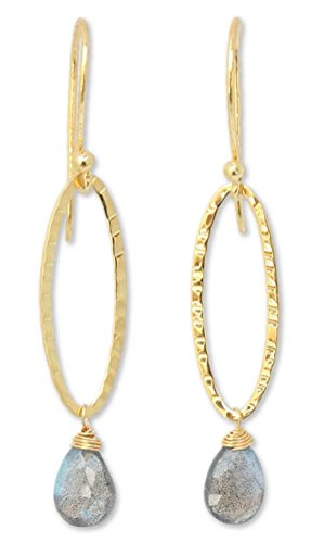 NOVICA Labradorite .925 24k Yellow Gold Plated Silver Dangle Earrings 'Iris Dewdrop' (Iris Vermeil)
