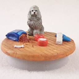 Conversation Concepts Miniature Poodle Gray Candle Topper Tiny One ''A Day at Home'' by Conversation Concepts