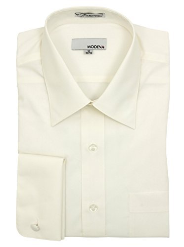 Modena Mens Eggshell French Cuff Cotton Blend Dress Shirt - Size 18 (Cotton French Cuff Dress Shirt)