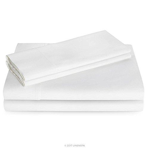 Linenspa 600 Thread Count Ultra Soft, Deep Pocket Cotton Blend Sheet Set - Twin - White