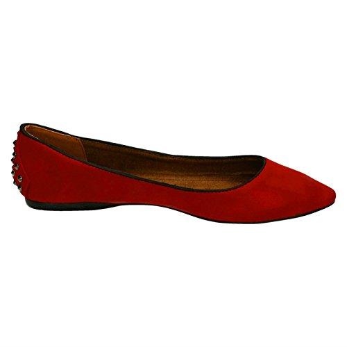 Rot Ballerina spitze Flache Spot Schuhe Damen On qO0nZw