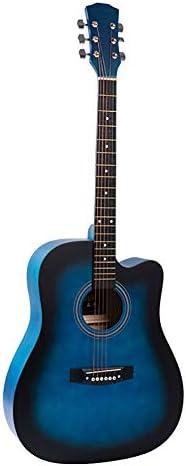 """QYZS ギター シングルボードギター、フォークギター、41"""" バスウッドアコースティックギター、初心者初心者初心者ギターの学生、送信してフルセット (Color : Blue)"""