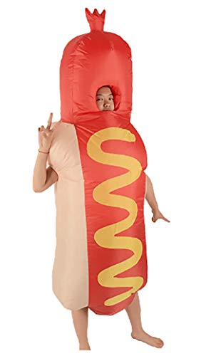 JM GOODIES Adult Inflatable Hot Dog Costume | Inflatable Costumes for Adults Child | Halloween Costume | Blow Up Costume -