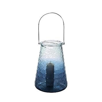 Casablanca Bodenwindlicht Karibik Blau Klar H 37 Cm Glas M