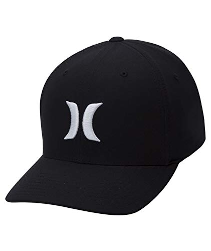 Hurley Men's Dri-Fit One & Only Flexfit Baseball Cap, Black White, L-XL ()