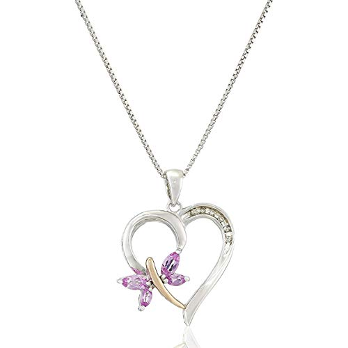 - Sterling Silver and 14k Rose Gold Created-Pink Sapphire and Diamond-Accent Pendant Necklace, 18