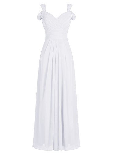 Tideclothes ALAGIRLS Women's Sweetheart Off The Shoulder Long Chiffon Bridesmaid Dress Wedding Party Gowns White US8