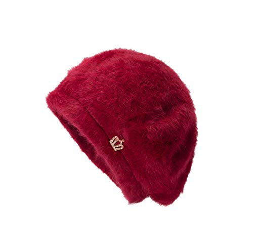 arm Caps for Women, Women Crown Design Ear Protector Slouchy Berets Solid Color Hat for Dancing, Casual, Daily, Christmas Day Wedding Tea Cocktail Party ()