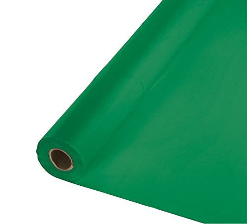 Cover Paper Table Rectangular (Creative Converting Roll Plastic Table Cover, 100-Feet, Emerald Green)