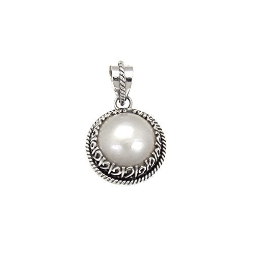 Sterling Silver Oxidiezed Round Mabe Pearl Pendant with pendant Dimension of 20MMx34.93MM and Pendant Diameter of 20MM Round Mabe Pearl