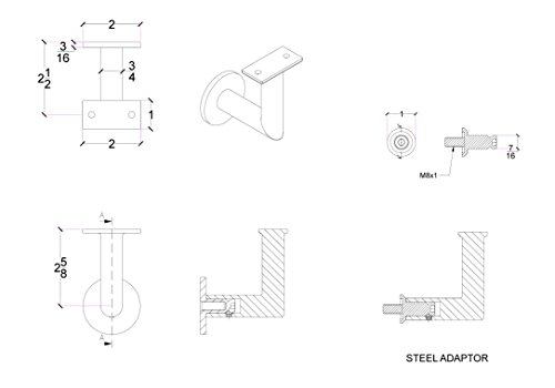 Stainless Steel Handrail Wall Bracket Luminous Quasar (Mounting Surface: Wood or Sheet Rock) by Inline Design (Image #4)