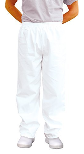 Easyfit Pants - Plain White Polycotton. Size: XL (42-44). by Chef Works by Chef Works