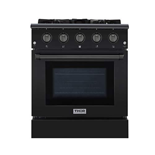 Thor Kitchen 30 Inch Gas Range 4 Burners Cooktop 4.2 cu.ft Oven Black Steel Free-Standing Blue Porcelain Oven Interior HRG3080-BS