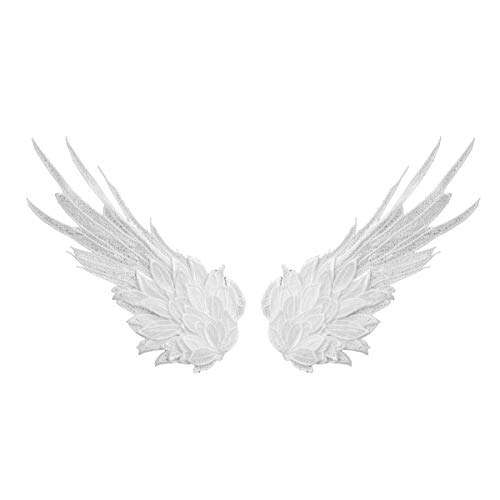 CHICTRY 1 Pair Embroidered Angel Wings Patches Iron-on or Sew-on Applique Fabric Badges for DIY Craft Clothing Backpacks Jeans Baseball Cap White L