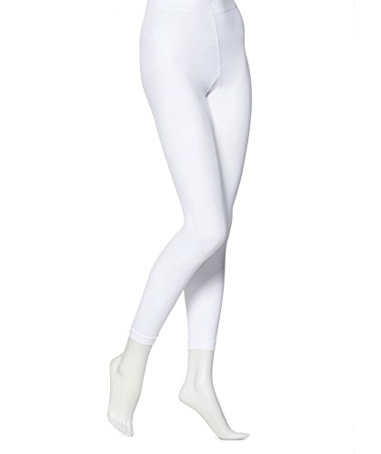 EMEM Apparel Women's Ladies Solid Colored Seamless Opaque Dance Ballet Costume Full Length Microfiber Footless Tights Leggings Stockings White E