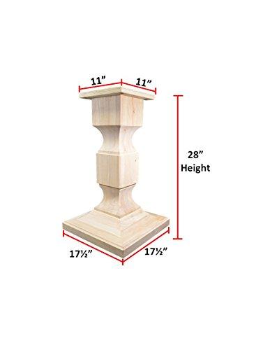 "BingLTD - 28"" Tall Chelsea Square Pedestal Table Base (WH-Chelsea28-UNF)"