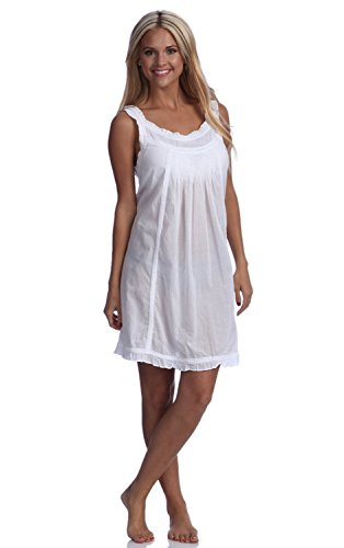 Cotton Embroidered Nightgown - Handmade Embroidered Eyelet Sleeveless Lady Nightgown, 100% Cotton, Size (x small/4),White,X-Small / 4