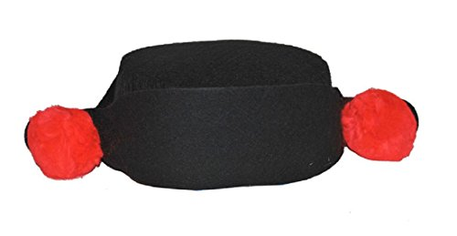 Black Matador Montera Hat Spanish Red Poms Mexican Bullfighter Costume Accessory - Spanish Hat With Pom Poms