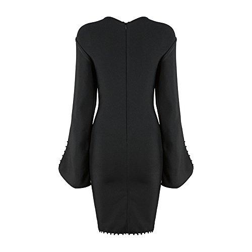 Mujer Para Vestidos O Vestido Ajustado Negro Corto Fiesta Cuello K Mini Manga Larga Noche Bar nxqSBxwU