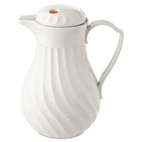 Polyurethane insulation keeps beverages hot or cold. - HORMEL CORP * Poly Lined Carafe, Swirl Design, 64oz Capacity, White