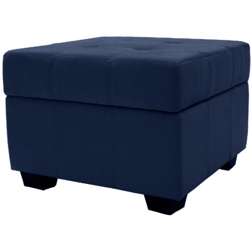 Epic Furnishings Vanderbilt 24-Inch Square Tufted Padded Hinged Storage Ottoman Bench, Microfiber (Navy Blue Storage Ottoman)